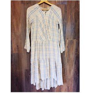 Free People Plaid Tan HiLow Long Sleeve Midi Dress